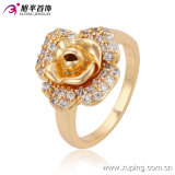 Newest Fashion Diamond Flower-Shaped Gold Jewelry Finger Ring for Ladies or Girls 13590