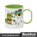 Bestsub 11oz Inner Rim Light Green Polymer Sublimation Mug (BPM06LG)