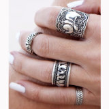 Fashion Vintage Carved Metallic Rings Set Jewelry