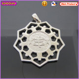 Boosin Symmetrical Polygon Silver Plated Embossment Metal Charms (16531)