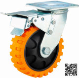 4/5/6/8 Inch Heavy Duty PU Castor Wheel with Brake Tyer Veins PU Casters