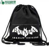 Simple School Bag Organic Black Cotton Drawstring Backpack Bag