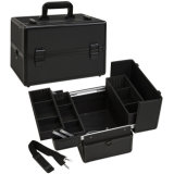 W 3 Trays - All Black Aluminum. Professional Makeup Case