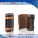 Attractive Eco-Friendly Cylinder Custom Leather Wine Gift Box (6470)