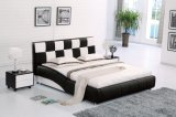 Italy Leather Black and White Waved Bed Frame L. H8330