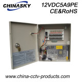 12VDC 5AMP 9channels CCTV Power Distribution Box with Lock&LED (12VDC5A9PE)