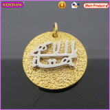 Gold Embossment Logo Tag Rough Grain Costume Necklace Charms (16598)