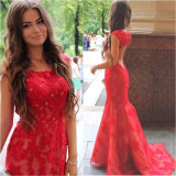 Lace Prom Gown Red Party Bridal Evening Dress Ld15266
