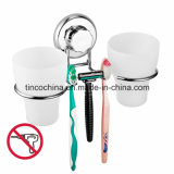 Bathroom Stainless Steel Wall Mounted Double Tumbler Holder with Razor Hanger