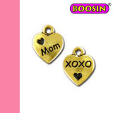 """Best Mother′s Gift! ! Gold Plated Heart 10mm """"Mom"""" Metal Charm"""