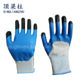 13G Nylon Safety Gloves with Finger Reinforced Nitrile Coated Gloves