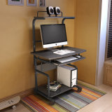 Mobile Computer Desk with CPU Keyboard Tray and Shelf