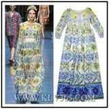 European Fashion Women Clothing Long Sleeve Elegant Party Prom Dress