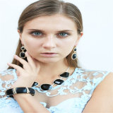 New Design Black Resin Necklace Bracelet Earring Jewelry Set