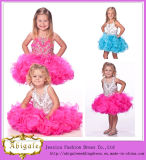 Cute New Puffy Organza Halter Beaded Ball Gown Sleeveless Short Flower Girl Dresses India Wholesale Yj0137