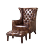 New Classic Club Chair, Leather Sofa Chair with Stool (DF-011)