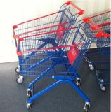 Hot Sell 60 Liter Euro Type Plastic Powder Shopping Trolley with PU Wheel and Baby Seat