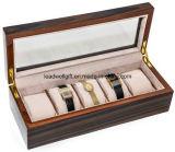 Deluxe Ebony Men′s/Women′s 5 Watch Deluxe Box Watch Storage Case