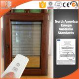 Wood Grain Finish Aluminum Window, American Style Foldable Crank Handle Aluminum Clad Wood Casement Window
