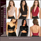 Halter Neck Women Blouse Tank Tops Fashion Crop Tops (25435)
