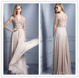 High Quality Sexy See Through A Line Boat Neck Beaded Floor Length Chiffon Long Sleeve Evening Dress (HS078)