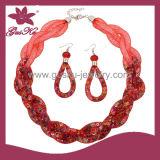 Red Crystal Earring&Bracelet Jewelry Set (2015 Gus-Fsns-038)