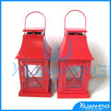 Home Decor Red Color Metal Lantern