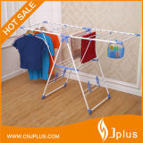 3.15kg Powder Coated K-Type White Hanger Clothes Rack with Basket and Clips (JP-CR109PS)