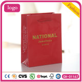 Red Hot Stamping Diamonds Gem Chain Coated Shopping Paper Bag
