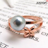 Simple Design Rose Gold Plated Shell Pearl Flower Ring