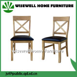 Solid Oak and Cream Leather Seat Curved Back Chair