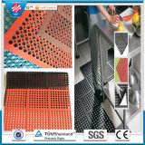 Anti-Slip and Anti-Fatigue Interlocking Porous Rubber Floor Mat, Oil Resistance Rubber Mat