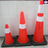 Black Base Flexible PVC Traffic Road Safety Cone