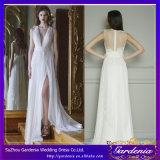 2014 Elegant Chiffon Wedding Dresses Deep V-Neck High Side-Split Zipper Back with Sash Sweep Train Bride Dresses