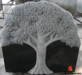 Black Stone Tree Carving Memorial Headstone for Cemetery