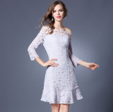 Spring Summer Slim Fashion Word Shoulder Lace Long Sleeves Short Lady′s Dress