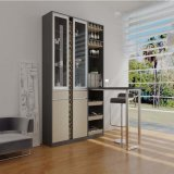Concise Style Brown Bake Lacquer Tall Wine Rack with Worktop