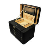 High End Black Large Capacity Leather Jewelry Case