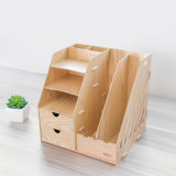 Wooden DIY Office Stationery Organizer with Drawers and File Box