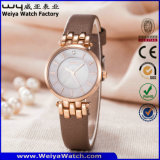 ODM Fashion Casual Leather Strap Quartz Ladies Wristwatch (Wy-121C)