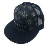 Black Polyester &Mesh Cap with Print