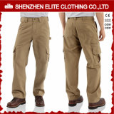 2017 Custom Men Cheap Brown Work Cargo Cotton Twill Pants