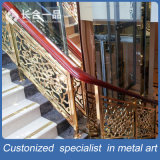 Customized Golden and Carve Pattern Stainless Steel Stairs Handrail