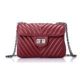 Designer Genuine Leather Embroidered Handbag Fashion Metal Chain Evening Bag