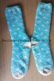 Blue with Grey Dots Design Non-Slip Cosy Socks