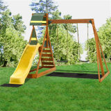 Childern Plastic out Door Wooden Swing and Slide Set (02)
