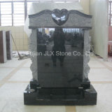 Black Granite Temple Tombstone with Roses Carvings