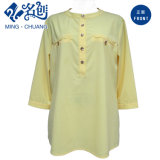 Cream-Coloured Loose Casual Front-Button MID-Sleeve Collarless Fashion Blouse