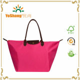 Polyester Eco-Friendly Folding Reusable Shopping Bag with Leather Handle