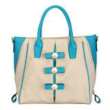 Bi-Color Side Zipper Lady Quality Tote Handbags (MBLX031067)